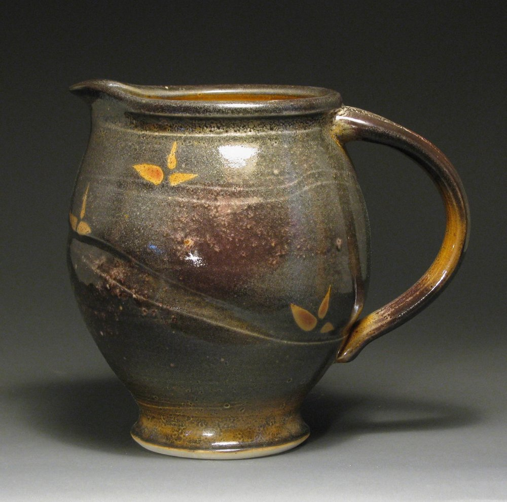 "Pitcher  10"" tall  Glaze: Davis shino"