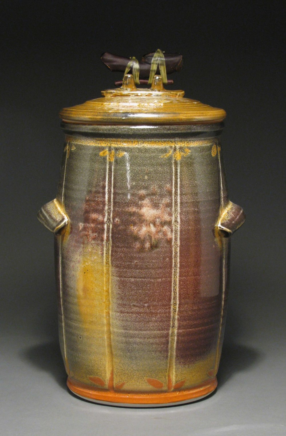 "Compost jar 14"" tall Glaze: Davis shino"