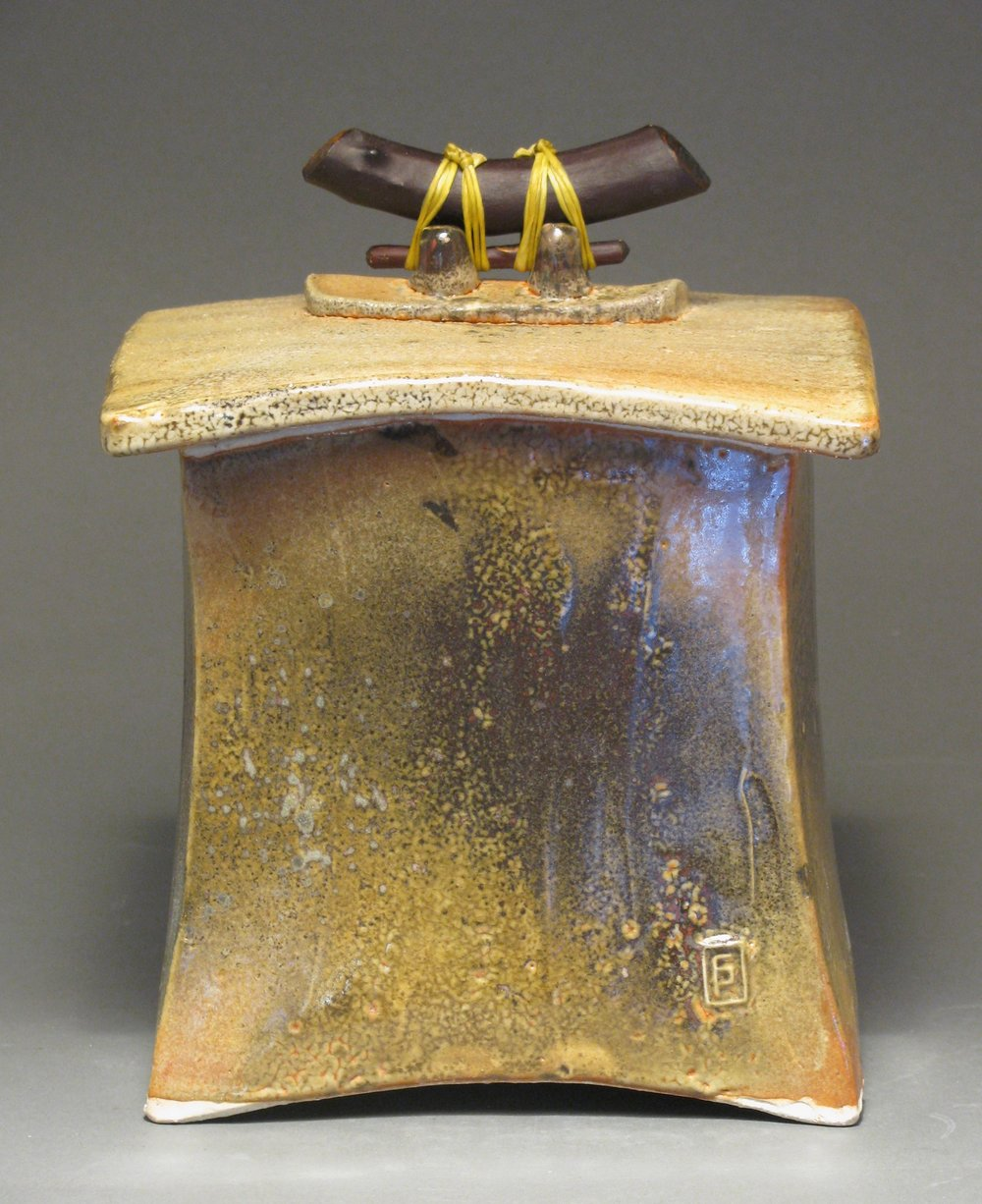 "Lidded box  8"" tall by 6 1/2"" wide by 6 1/2"" deep  Glaze: Davis shino"