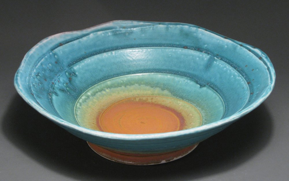 Serving bowl  Glazes: matte turquoise and matte rust