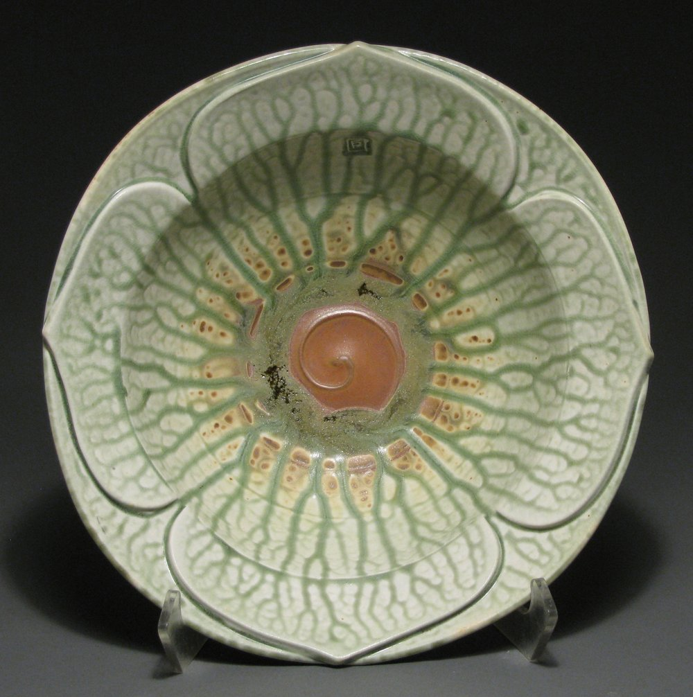 "Lotus bowl  14"" diameter  Glazes: green ash and matte rust"