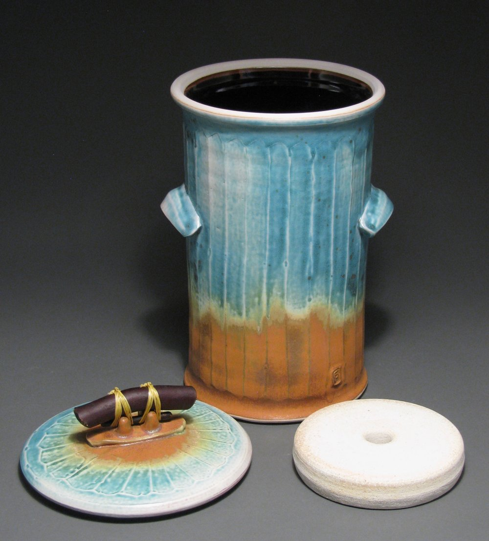 "Fermentation jar with weight  13"" tall  Glazes: matte turquoise and matte rust"