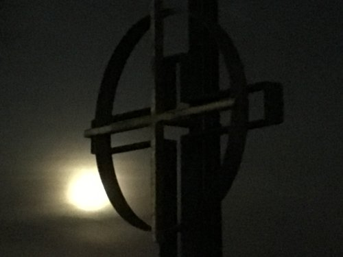 cross with super moon before sunrise.jpg