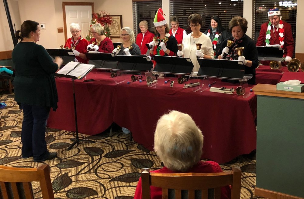 Kari Owens lead the Jubilation Ringers handbell choir in a concert at Savage Senior Living.   Jubilation Ringers are a regular feature at St. James worship.