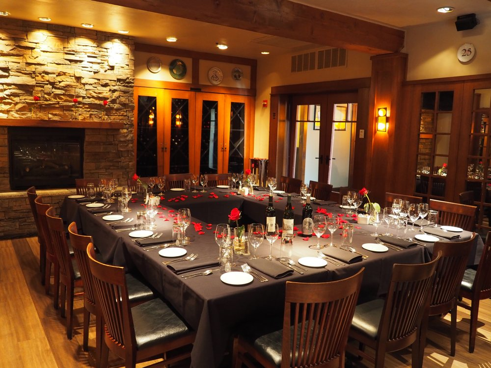 Our private dining room set for 18, but it can hold up to 40!