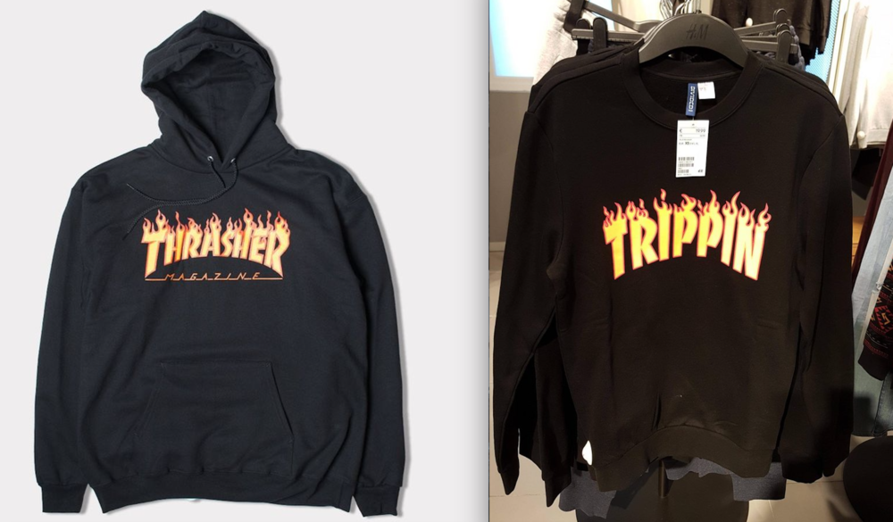 original logo hoodie by Thrasher magazine, and H&M ripoff