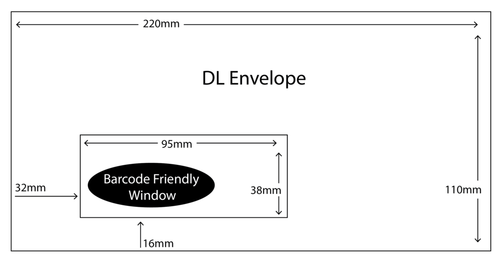 DL Envelope with barcode friendly window size