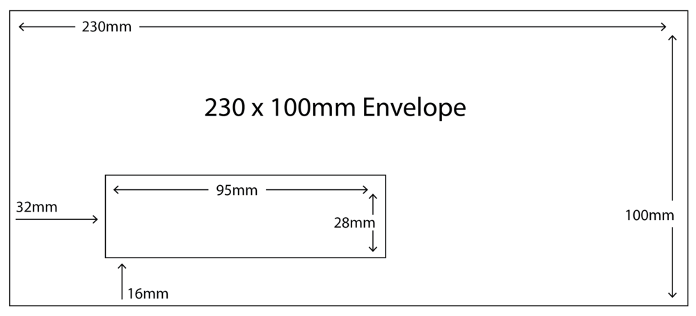 230 x 100mm Envelope with standard window size