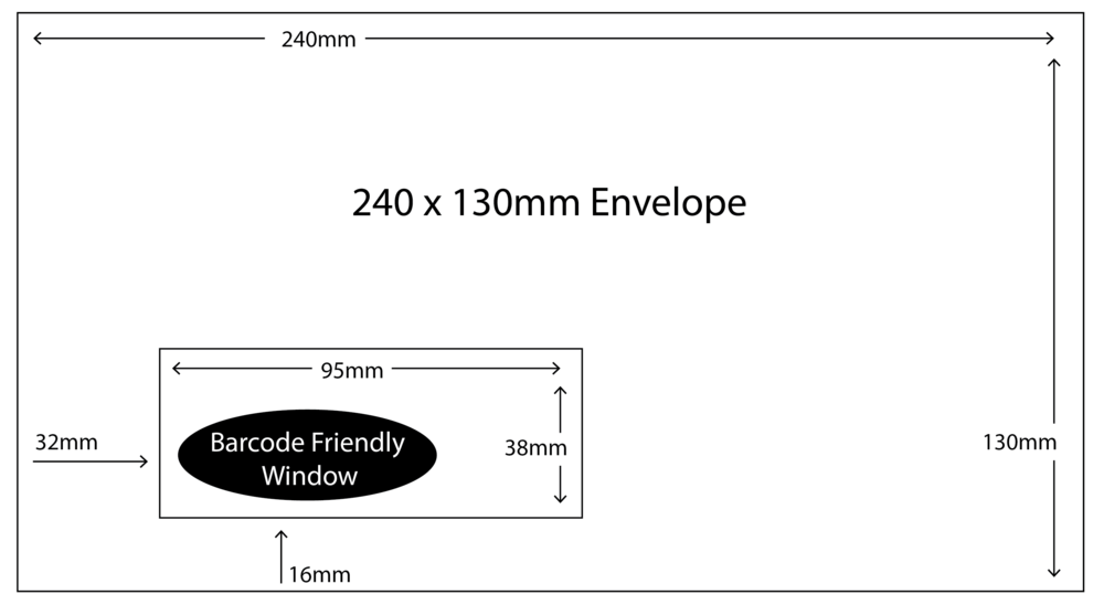 240 x 130mm Envelope with barcode friendly window size