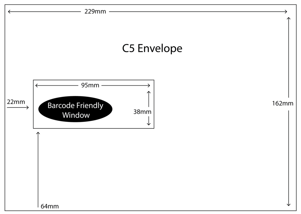 C5 Envelope with barcode friendly window size