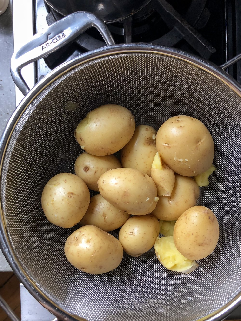 Make sure to allow potatoes to dry thoroughly.