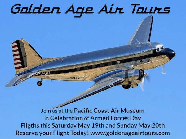 We will be at the Pacific Coast Air Museum in Santa Rosa, CA offering rides this weekend. Come out and support our Veterans on Armed Forces Day.