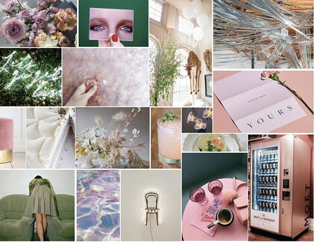 Inspiration for days! SF's CREAM mood board is a vision of neon white, cream, dove grey, palest lavender, nude blush and moss green. What a dream! See you Sunday.