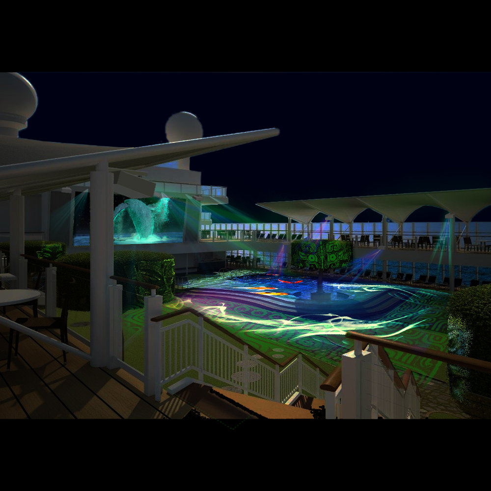 Outdoor Projection Mapping for Cruise Ship