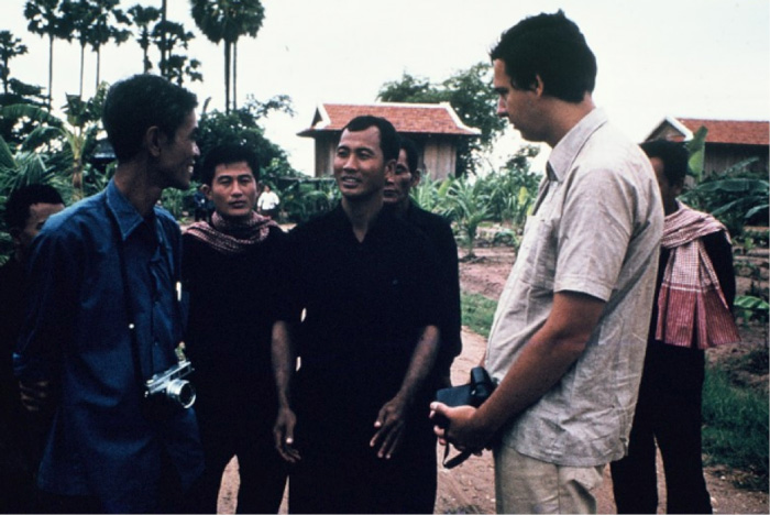 Gunnar Bergstrom speaks with Khmer Rouge leaders at a cooperative in Takeo province.
