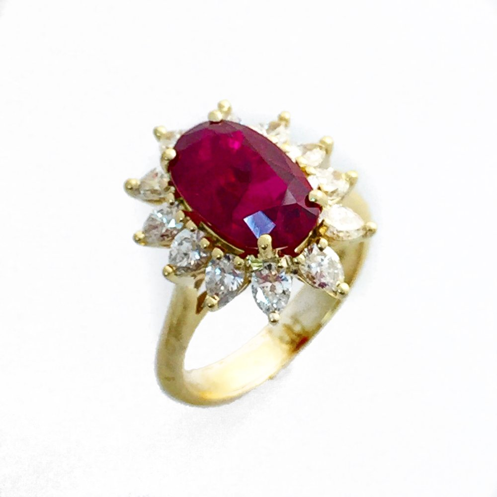 18K Yellow Gold Ruby and Diamond Fancy Ring.