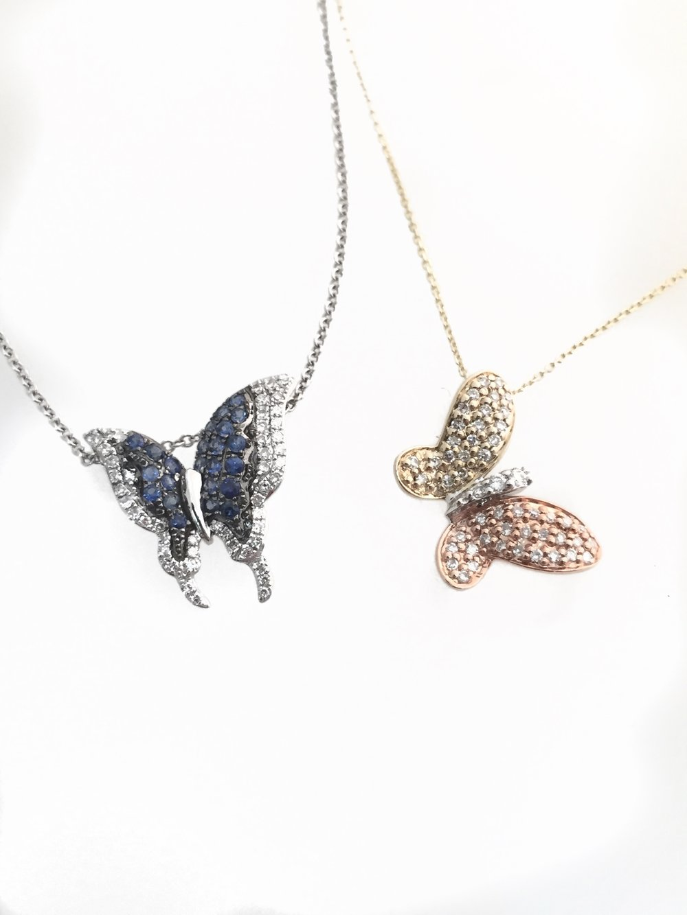 14K White Gold Sapphire and Diamond Butterfly Pendant  14K Tri-Color Diamond Butterfly Pendant