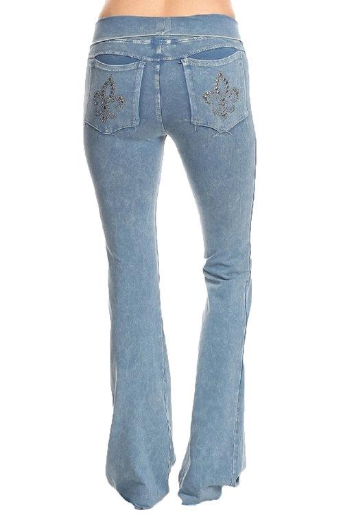 875e915704d2c T -Party Blue Mineral Wash Fold Over Waist Fleur De Lis Stud Yoga Pants