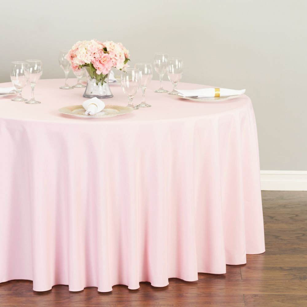 Pink Round Table.Pink Round Polyester Linen Box K Events