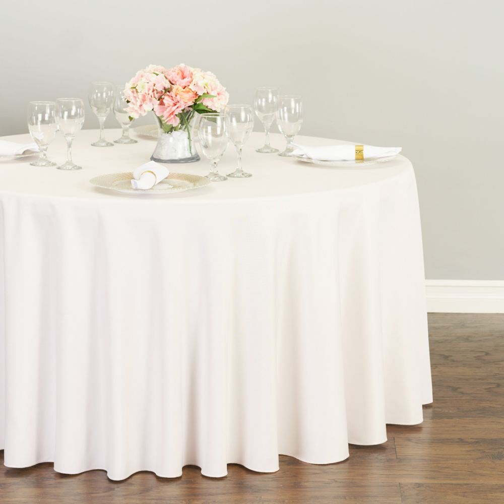 Beau Baby Pink Round Polyester Linen