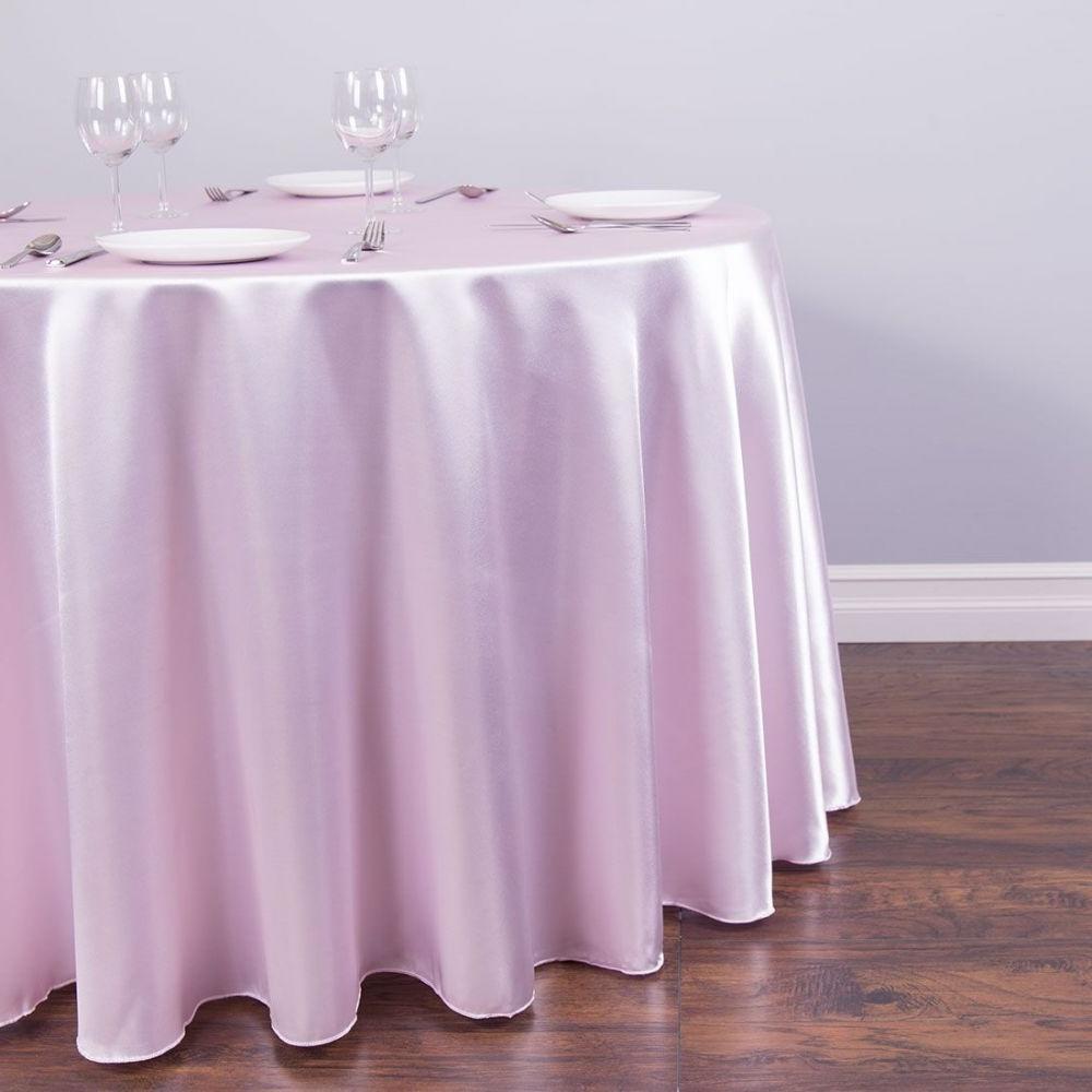 Baby Pink Round Satin Linen
