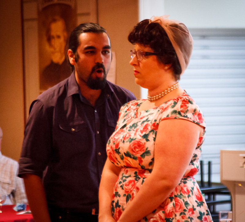 Picture: Mr Parikh (Shannon Haegler ), and Mrs Fitzgerald (Tammy Sarah Linde).   Picture Credit: Geoff Lawrence.