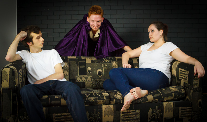 Pictured(L to R): Harvey (Christopher Batkin), Joker (Callum Pulsford), and Loretta (Jackie Sutton ), Mediocrity (Everything You've Ever Wanted), 23 May 2015. Picture credit:          Geoff Lawrence .