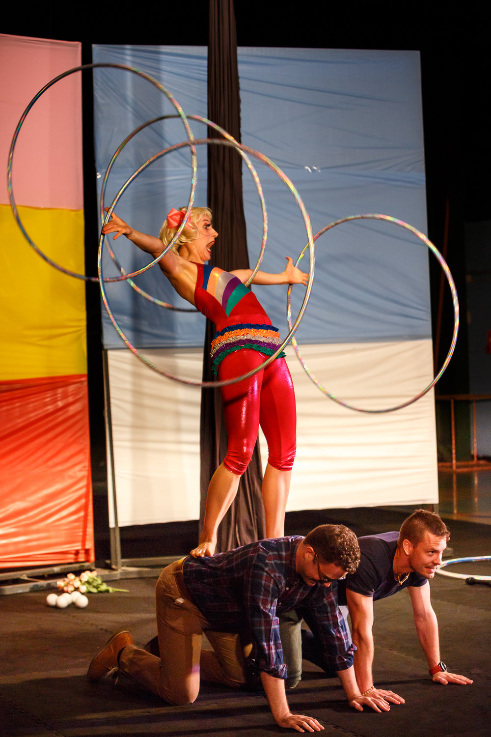 Pictured (Lto R): Circus Clare (   Claire Ogden), Boris (Shane Smith), Julio 2 (Lachlan Snow [glasses]) and Dimitri (Simon Arnold [Dad]).  Picture Credit : Geoff Lawrence,  Creative Futures Photography .