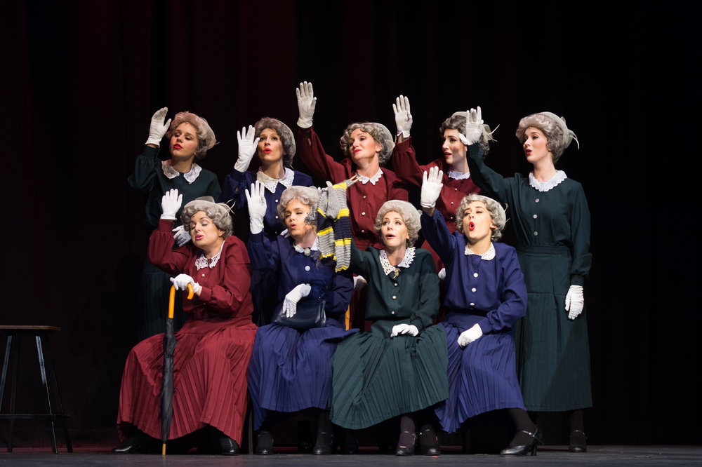 Pictured: Ensemble 'Old Ladies,' The Producers. Picture Credit: Chirstopher Thomas (Courtesy Savoyards)