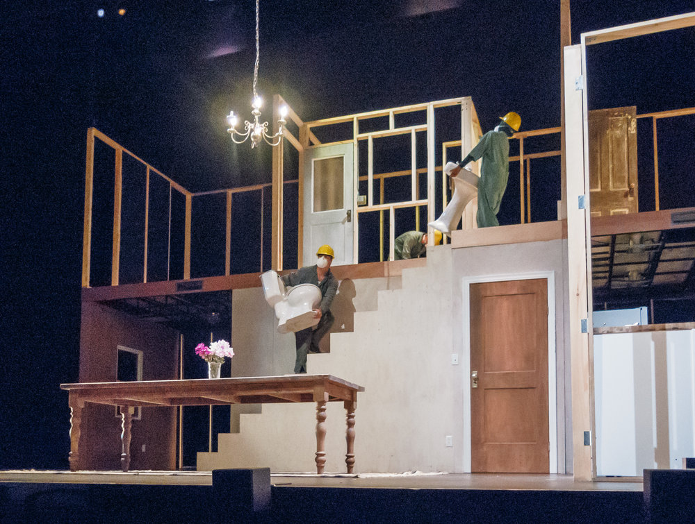Picture: The cast, building the house.  Picture credit: Creative Futures Photography.