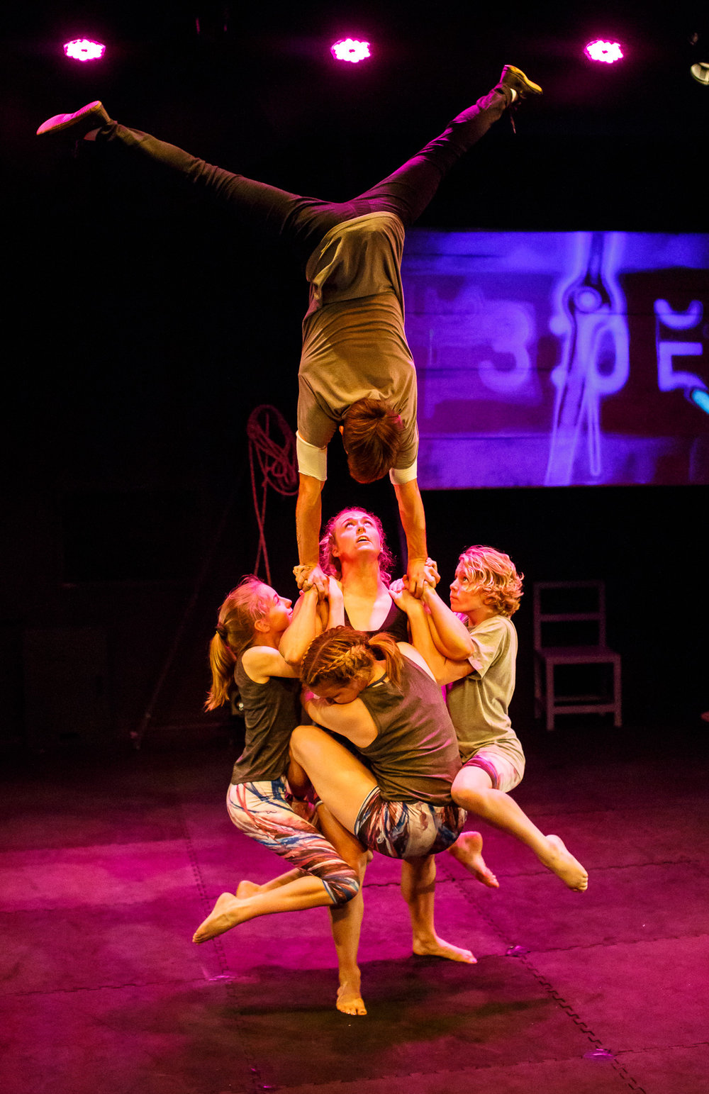 Pictured : Amy Stuart (strength), Skip Walker-Milne (handstand), with Mia Hughes, Luke Whitefield, and Indra Garvey. Picture credit:  Creative Futures Photography .