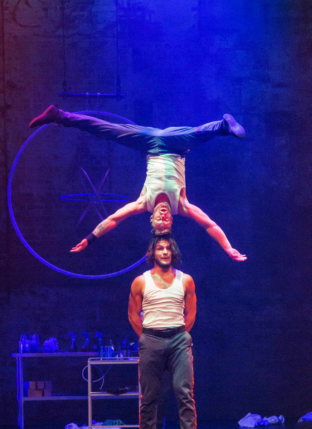 Pictured: Thomas Gorham 'head first' balancing on Cal Harris. Picture credit: Creative Futures Photography.