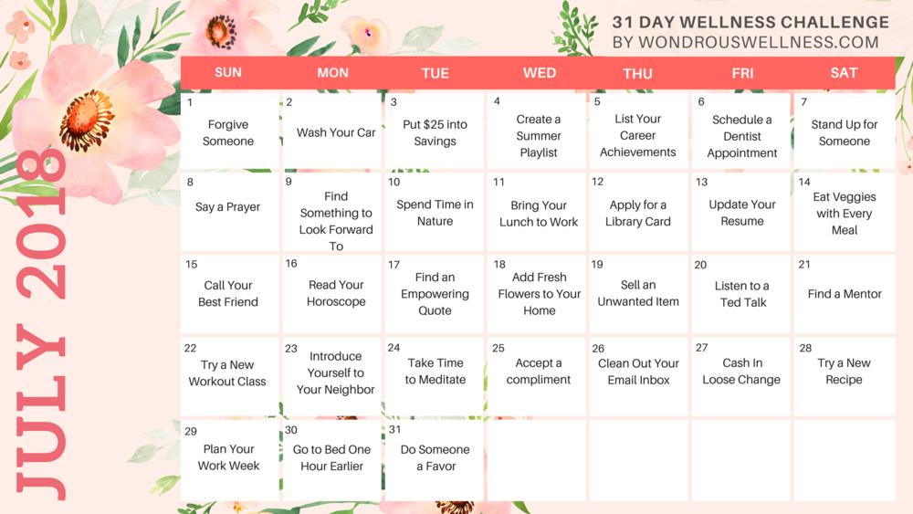 Wellness Challenge 2018   Wondrous Wellness