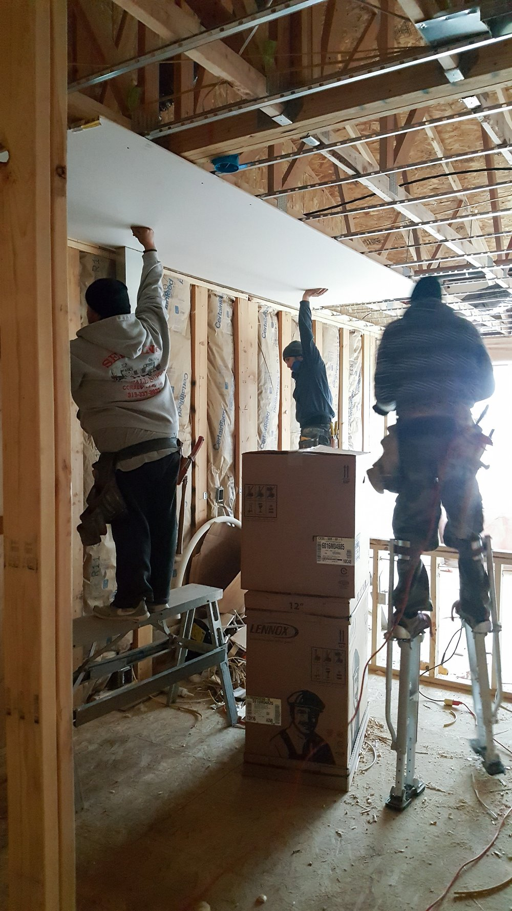 Bower Drywall Hangs Ceiling