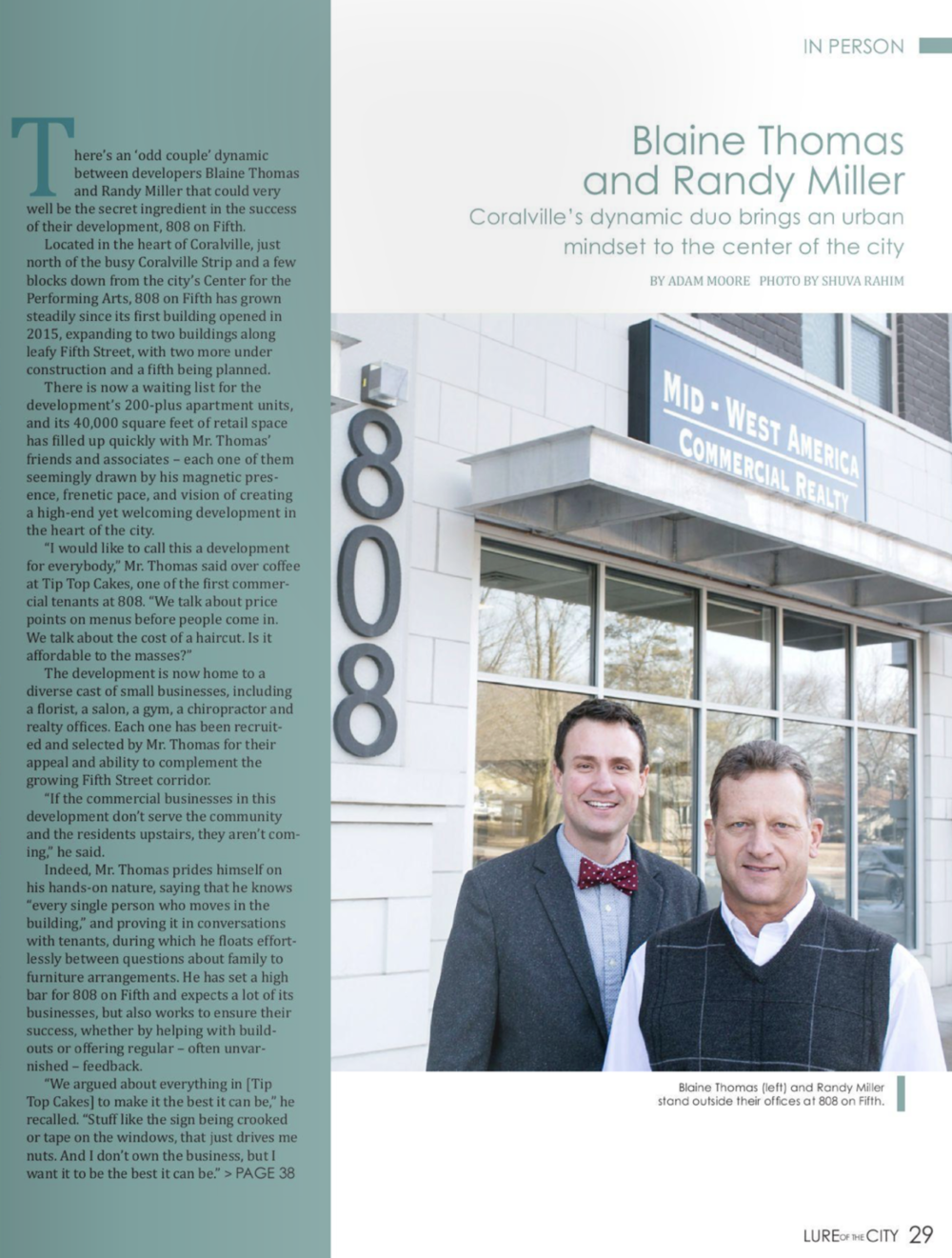 "Blaine Thomas and Randy Miller Featured in the Corridor Business Journal's Article ""Coralville's dynamic duo bring an urban mindset to the center of the city"" by Adam Moore"