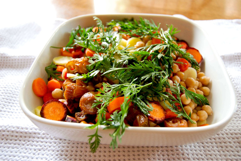 Carrot, Date and Chickpea Salad With Carrot Greens