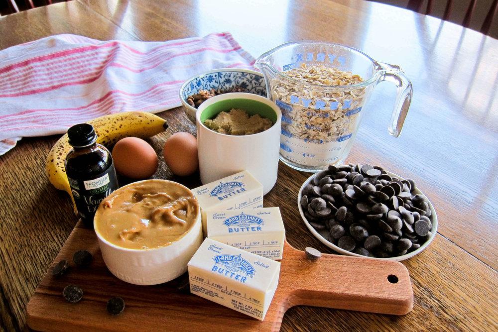 Ingredients - Chunky Monkey Peanut Butter Oatmeal Bars
