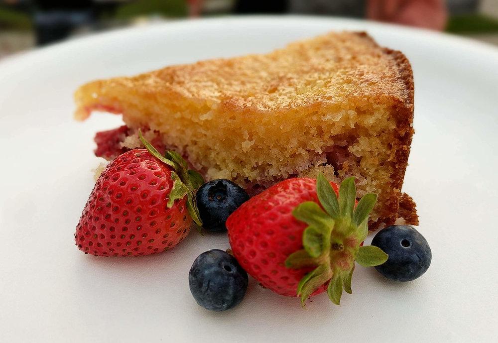 Lemon Strawberry Cake Cut - Side View