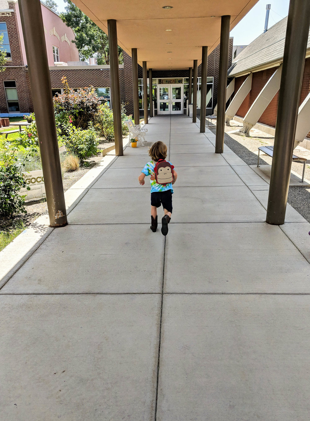 G Running Into School On The First Day Of Preschool