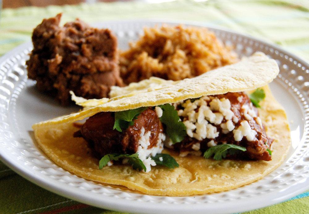 Crock Pot Chicken Mole Tacos