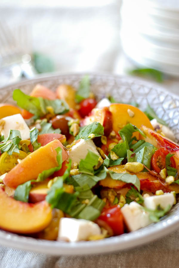 Peach Caprese Salad And Roasted Pistacios