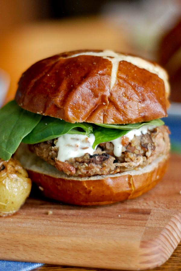 Front Range Fed Hearty Veggie Burgers With Mushrooms And Beans And Garlicky Mayo