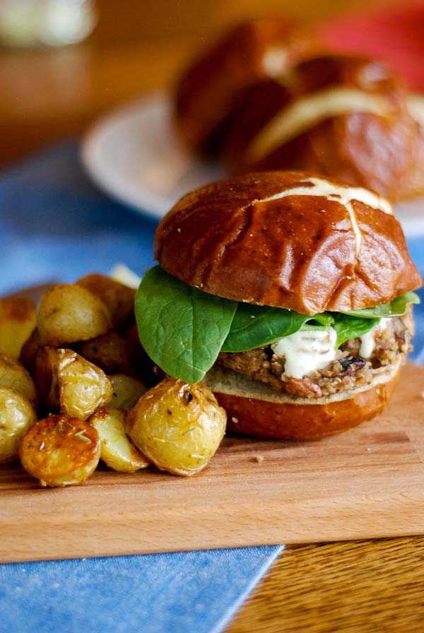 Mushroom Burger On Pretzel Bun With Oven Roasted Potatoes