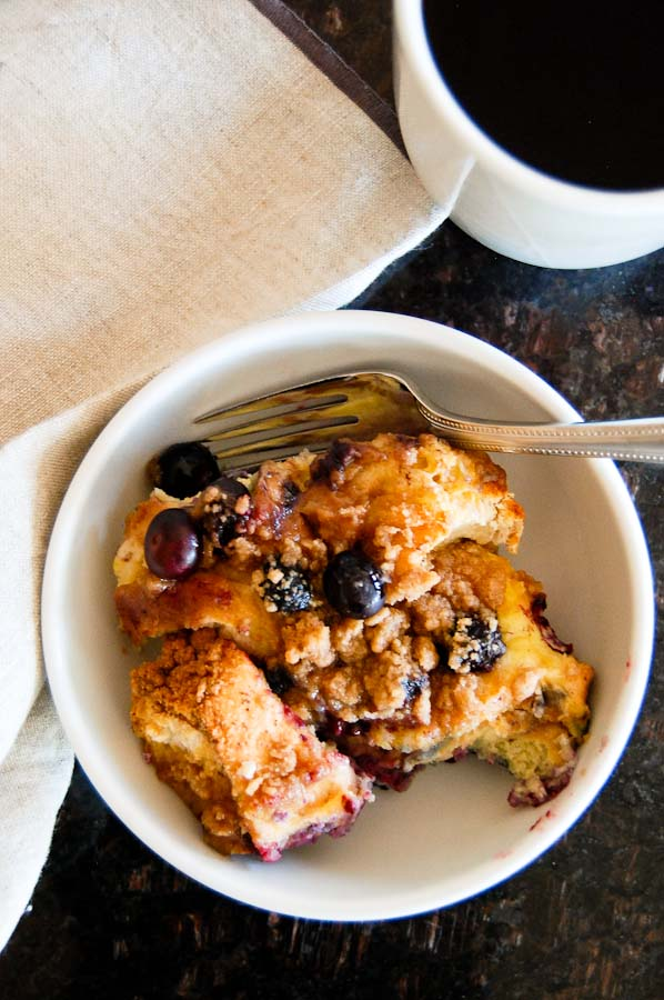 Blueberry Crumble French Toast Casserole