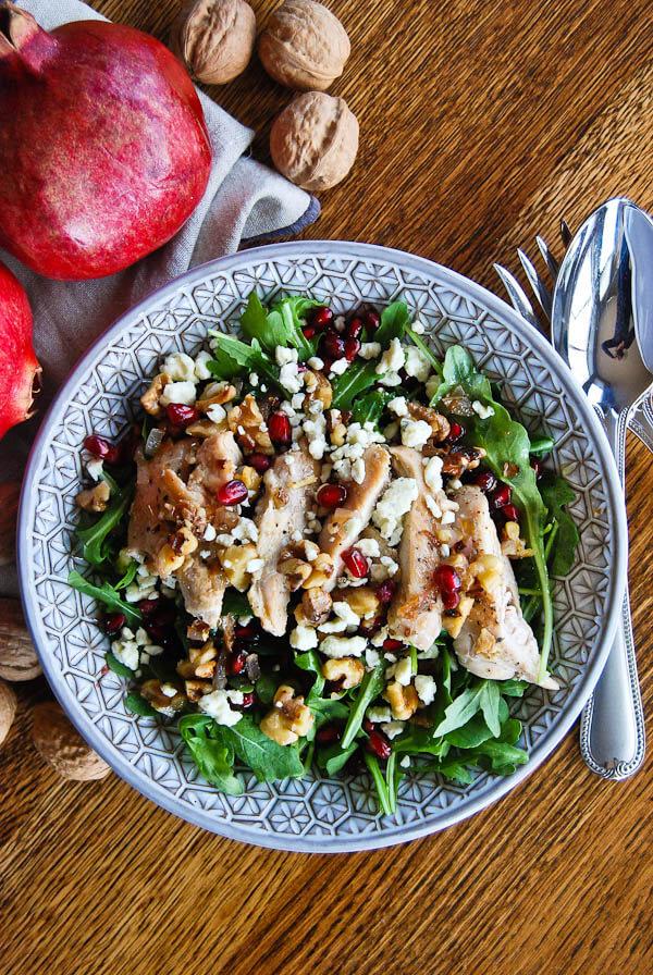 Healthy Chicken Pomegranate and Arugula Crunch Salad