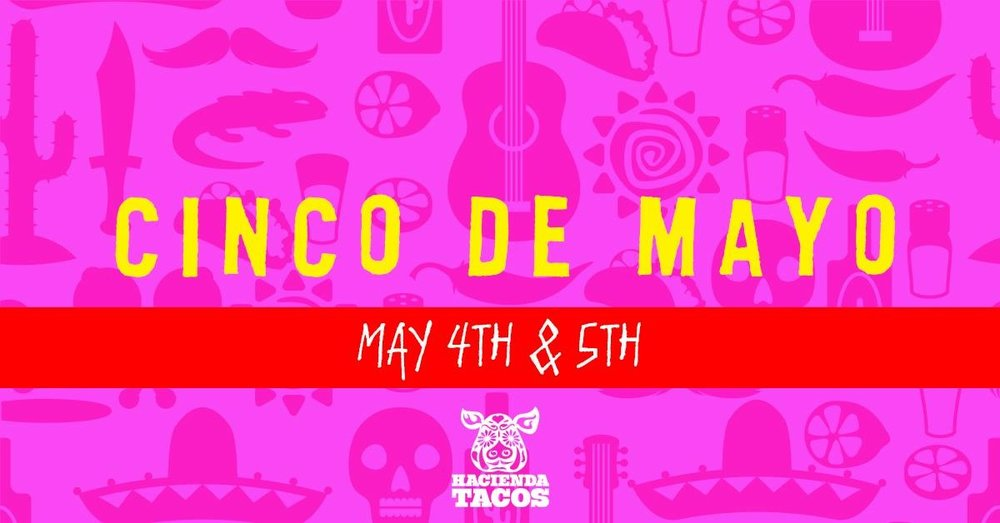 COME JOIN US FOR A CINCO DE MAYO CELEBRATION THAT WILL LEAVE YOU DANCING THROUGH THE WEEKEND!  WE WILL HAVE PRIZE GIVEAWAYS, LIVE MUSIC AND FOOD AND DRINK SPECIALS!!  COME ON DOWN TO HACIENDA!!  !!ARRIBA!! !!ARRIBA!!