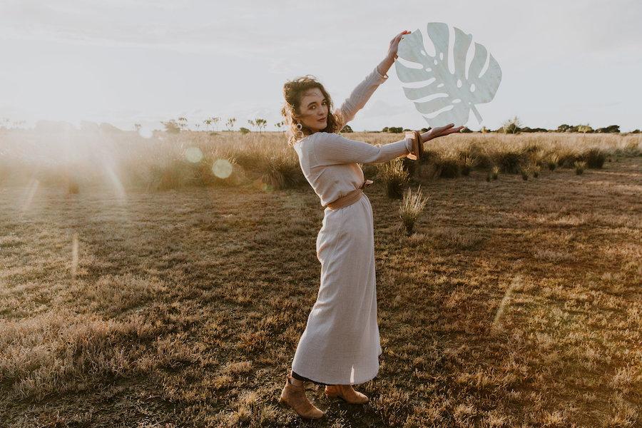 Yume Hoops + Linen Turban/Belt In Desert Brown