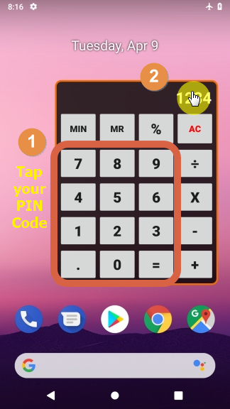 5. Enter your PIN code, tap the number display and the app should launch! -