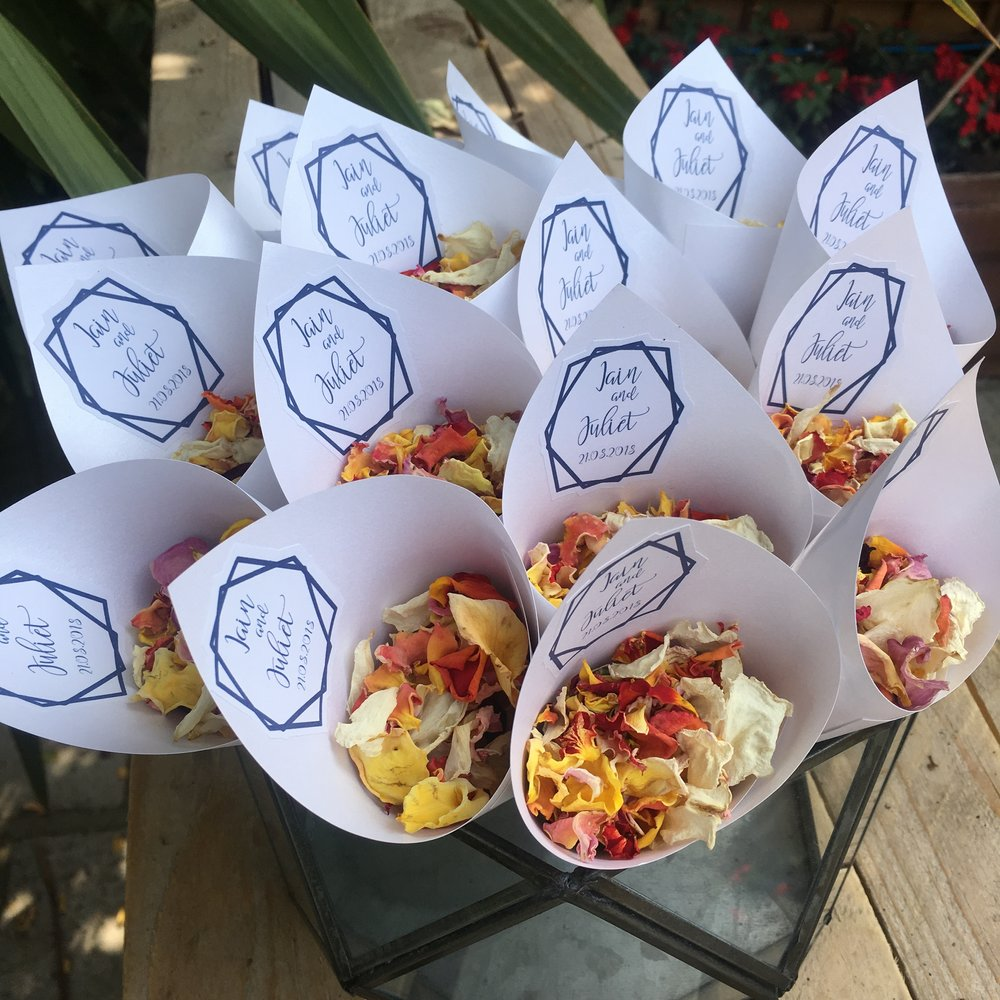 Personalised labels for confetti cones, sweet boxes. Prices dependent on your specifications