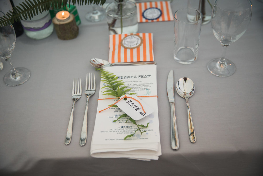 Place setting labels designed to suit your wedding. Starting at £12 per head
